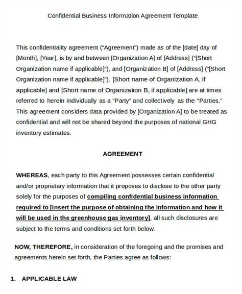 enterprise agreement template 9 business agreement templates sles exles format