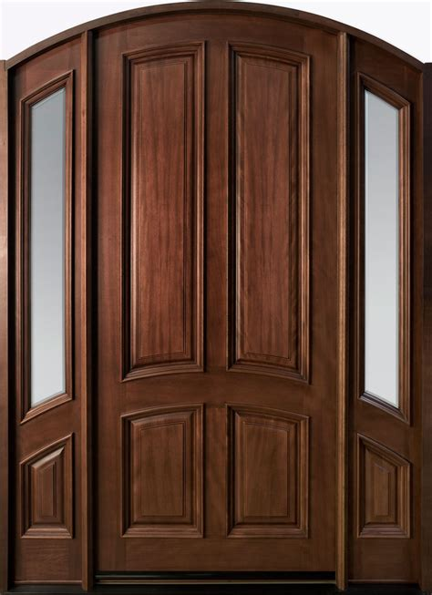 Solid Wood Exterior Door Entry Door In Stock Single With 2 Sidelites Solid Wood With Mahogany Finish Classic
