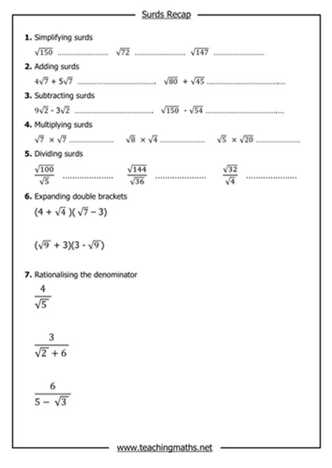indices and surds by teachingmaths teaching resources tes