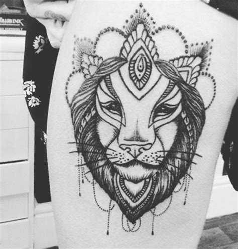girly lion tattoos 1000 ideas about thigh on