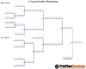 fillable 6 team double elimination editable tourney bracket