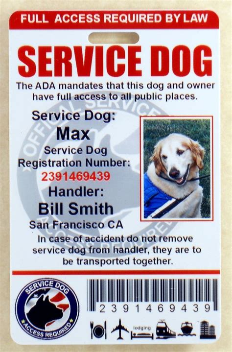 service id holographic service id card badge assistance animal ada tag 0 ebay