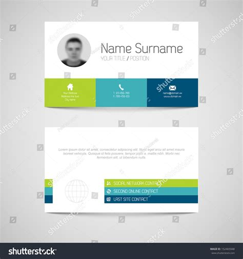 modern simple light business card template with flat user