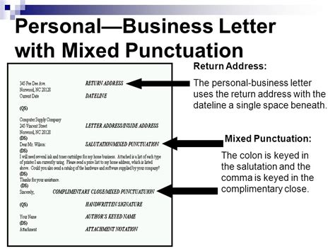 Business Letter Modified Block Style Mixed Punctuation Apply Correct Letter Formats Ppt