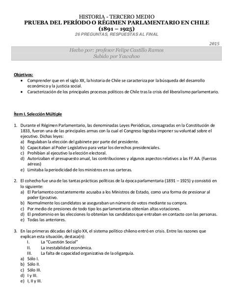 preguntas y respuestas historia de chile historia de chile 3 176 medio prueba del per 237 odo