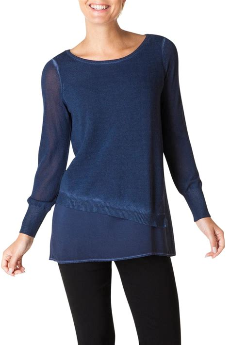 Yest Blouse yest indigo sweater blouse from chicago by what she wants boutique shoptiques