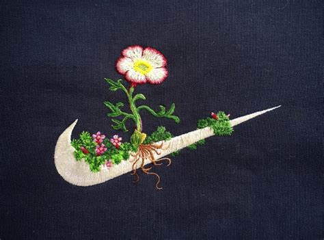 embroidery design nike james merry embroiders flowers on the nike swoosh and