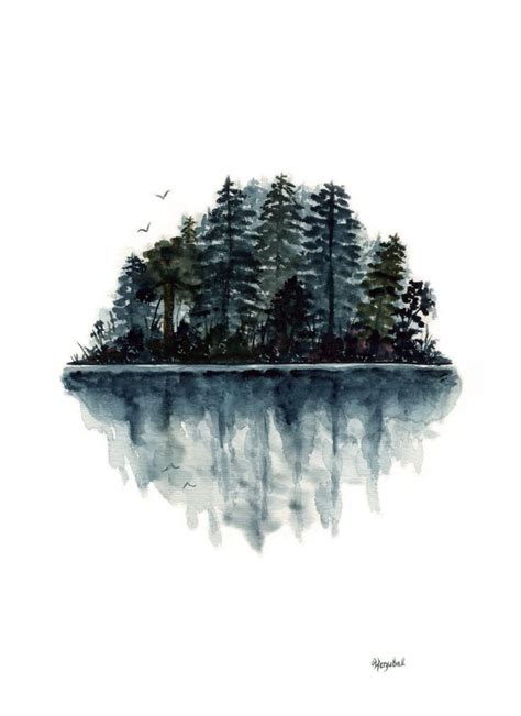 old watercolor tattoo original watercolor painting forest lake reflection birds