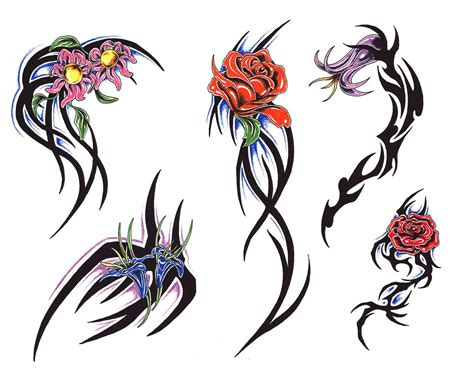 tribal and flower design tattoos flowers designs ideas pictures