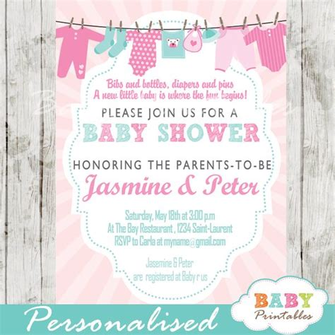 Blue And Pink Baby Shower Invitations by 32 Best Clothesline Baby Shower Theme Decorations Images
