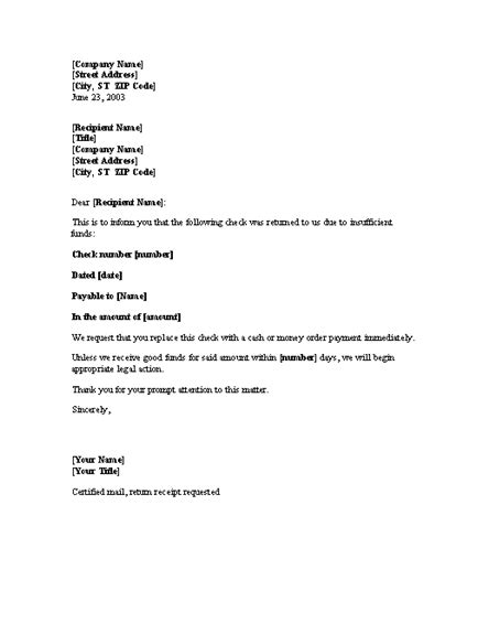Bad Check Letter Template Charlotte Clergy Coalition Nsf Template