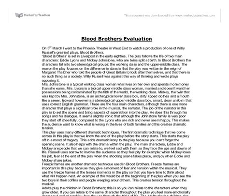 Blood Brothers Essay Help by Blood Brothers Evaluation Gcse Marked By