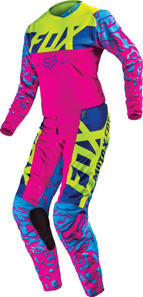 pink motocross jersey fox racing womens pink blue yellow 180 dirt bike jersey