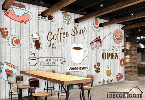 white wooden wall graphic design coffee shop restaurant