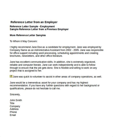 reference letter template from employer 7 reference letter templates free sle exle
