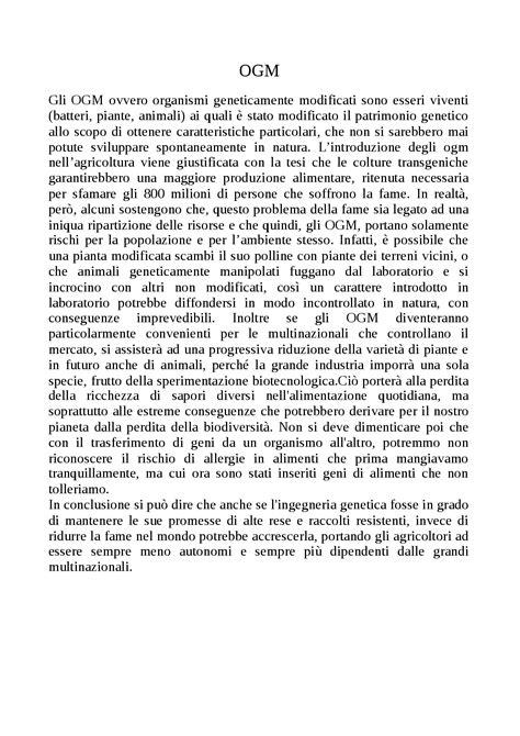 esempio testo argomentativo testo argomentativo sugli ogm docsity