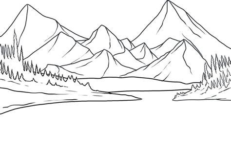 easy landscape coloring pages vorlagen zum ausmalen malvorlagen berg gebirge ausmalbilder 2