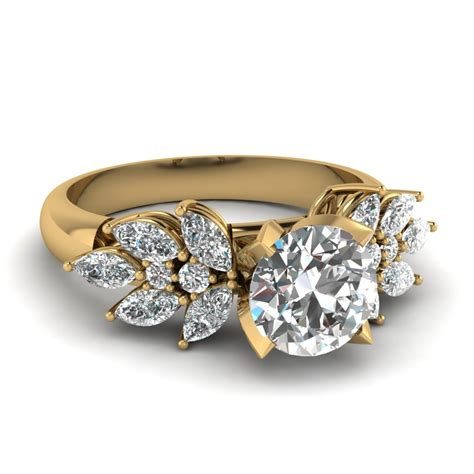 Cut Engagement Rings Gold Jewelry by 2 Carat Marquise Petal Engagement Ring In 14k