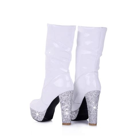 winter toe chunky high heel on ankle feathers white