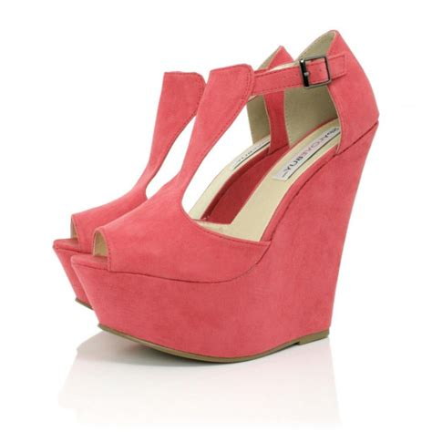 coral suede style wedge shoes buy coral suede style