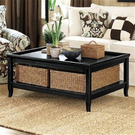 White Coffee Table With Storage Baskets Ballard Coffee Table With Baskets Also In Mahogany And White Tables Pinterest