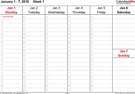 time calendar template 2018 weekly calendar 2018 uk free printable templates for word