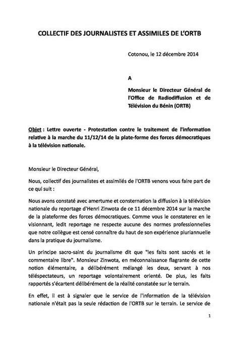 Lettre De Motivation Vendeuse Fruits Et Légumes Benin Ortb Le Collectif Des Journalistes Proteste Contre Le Traitement De L Information
