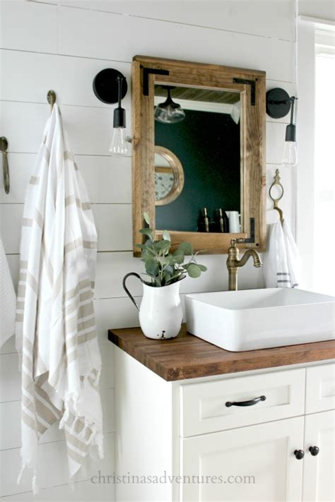 butcher block bathroom sink vintage inspired farmhouse bathroom makeover christinas