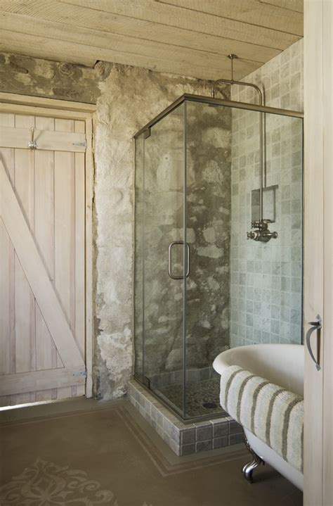 rustic farmhouse bathroom rock tile showers for small bathrooms