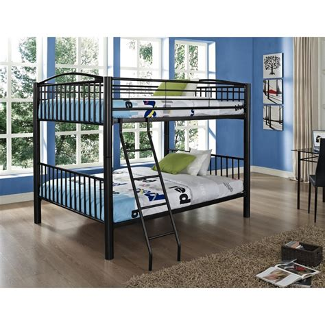 full over full metal bunk beds powell heavy metal full over full bunk bed in black 938 137