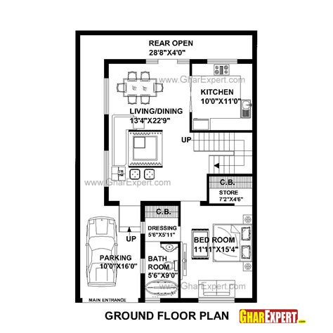 100 Gaj Sq Ft house plan for 30 feet by 45 feet plot plot size 150