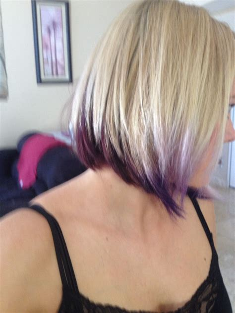 bobs with color inverted bob with purple to bright purple tips
