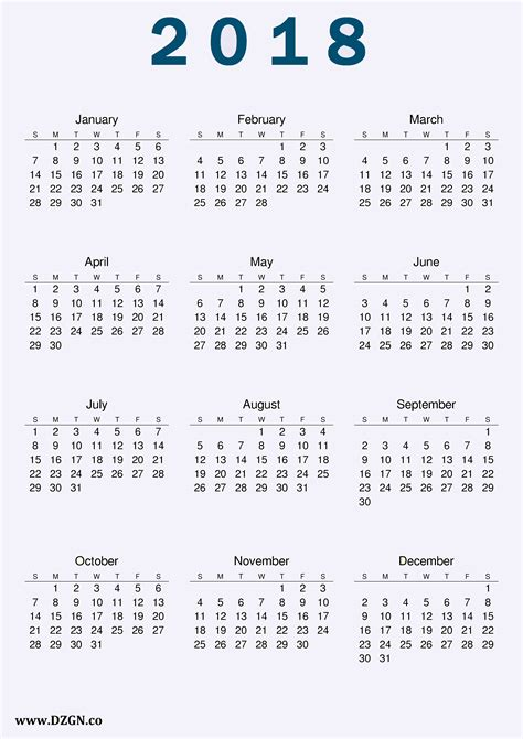 printable calendar of 2018 2018 calendar printable free download free dzgn