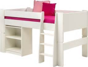 steens for kids white mid sleeper mattress pull out desk amp low bookcase