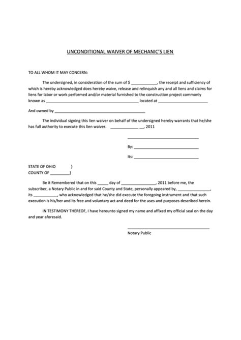 lien waiver template unconditional waiver of mechanics lien form printable pdf