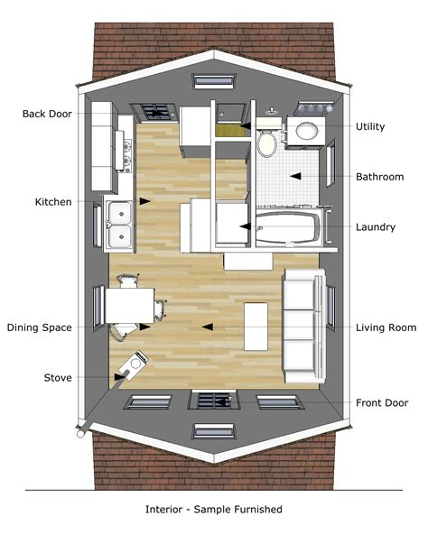 tiny house design plans pioneer s cabin 16 215 20 v2 interior
