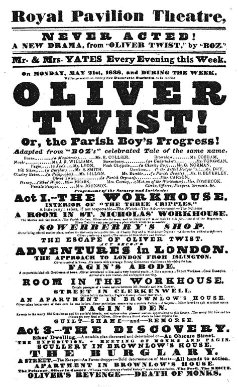 two oliver twist adaptations heading to the big screen in early dramatic adaptations of quot oliver twist quot 1838 1842