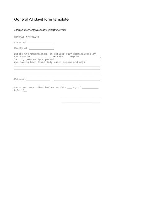 template for an affidavit free affidavit form sle pdf word affidavit form