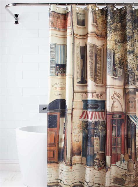 paris the corner coffee shopnostalgiashower curtain