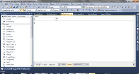 design html visual studio create a combobox web control with jquery and asp net