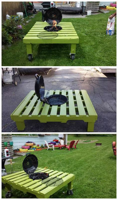 grillfire pit table    repurposed pallet
