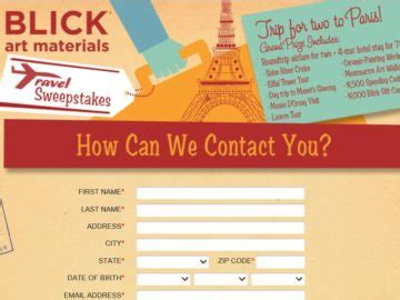 Blick Car Sweepstakes - blick car travel sweepstakes
