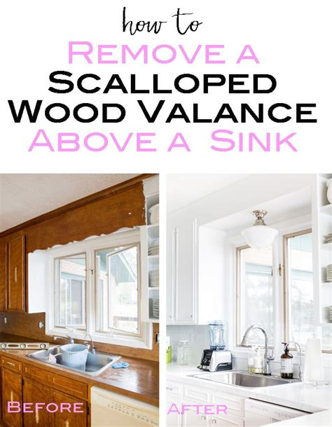wood valance kitchen sink removing the scalloped wood valance the kitchen sink