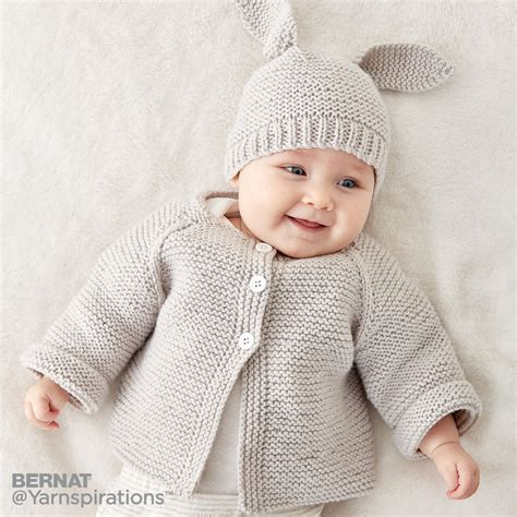 knit baby bernat knit baby jacket set knit pattern yarnspirations