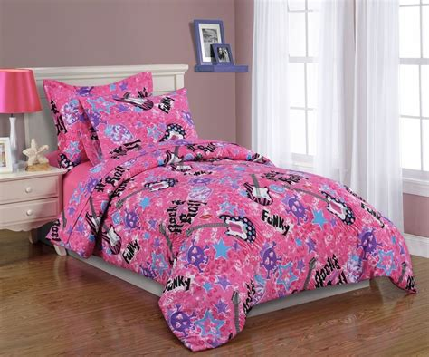 Girls Kids Bedding Twin Comforter Set Rock And Roll Pink