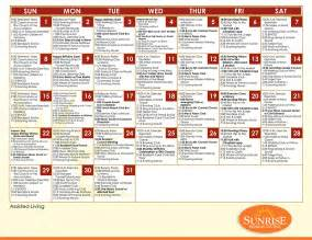 Assisted Living Activity Calendar Template by Programming Activities Senior Living