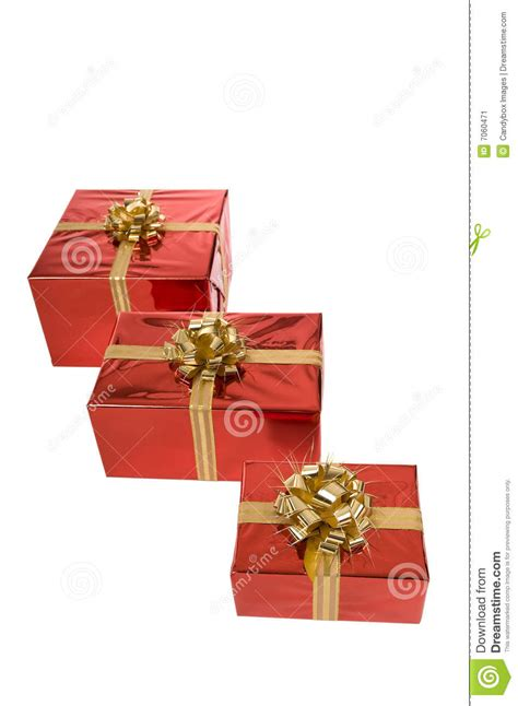 three christmas gifts in a row stock image image 7060471