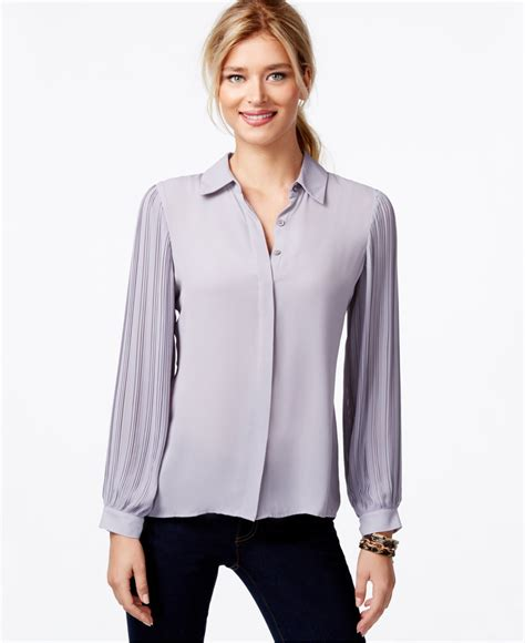 Pleated Sleeve Blouse lyst vince camuto button pleated sleeves blouse in