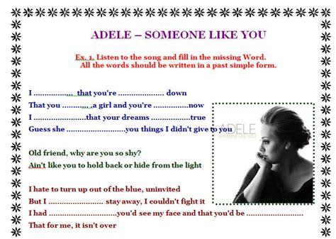 printable lyrics someone like you adele song worksheet someone like you by adele alternative