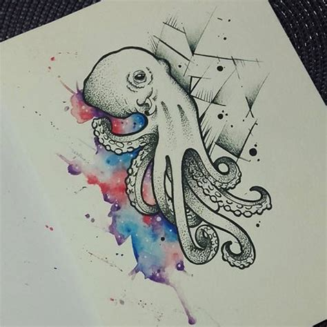 uncolored octopus with geometric and watercolor elements